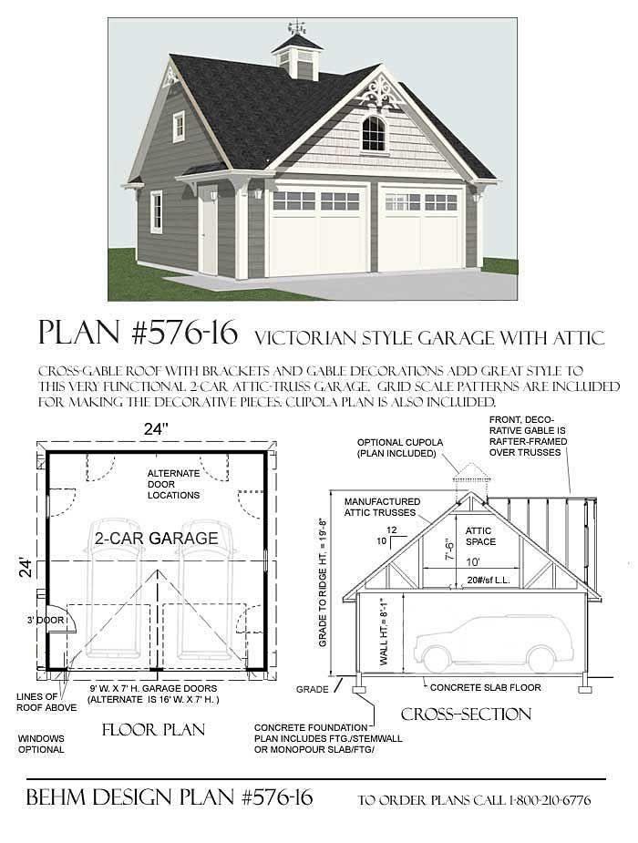 2 Car Victorian Style Garage Plan 576 16 24 X 24 Garage Plans 2 Car Garage Plans Garage Plans Detached