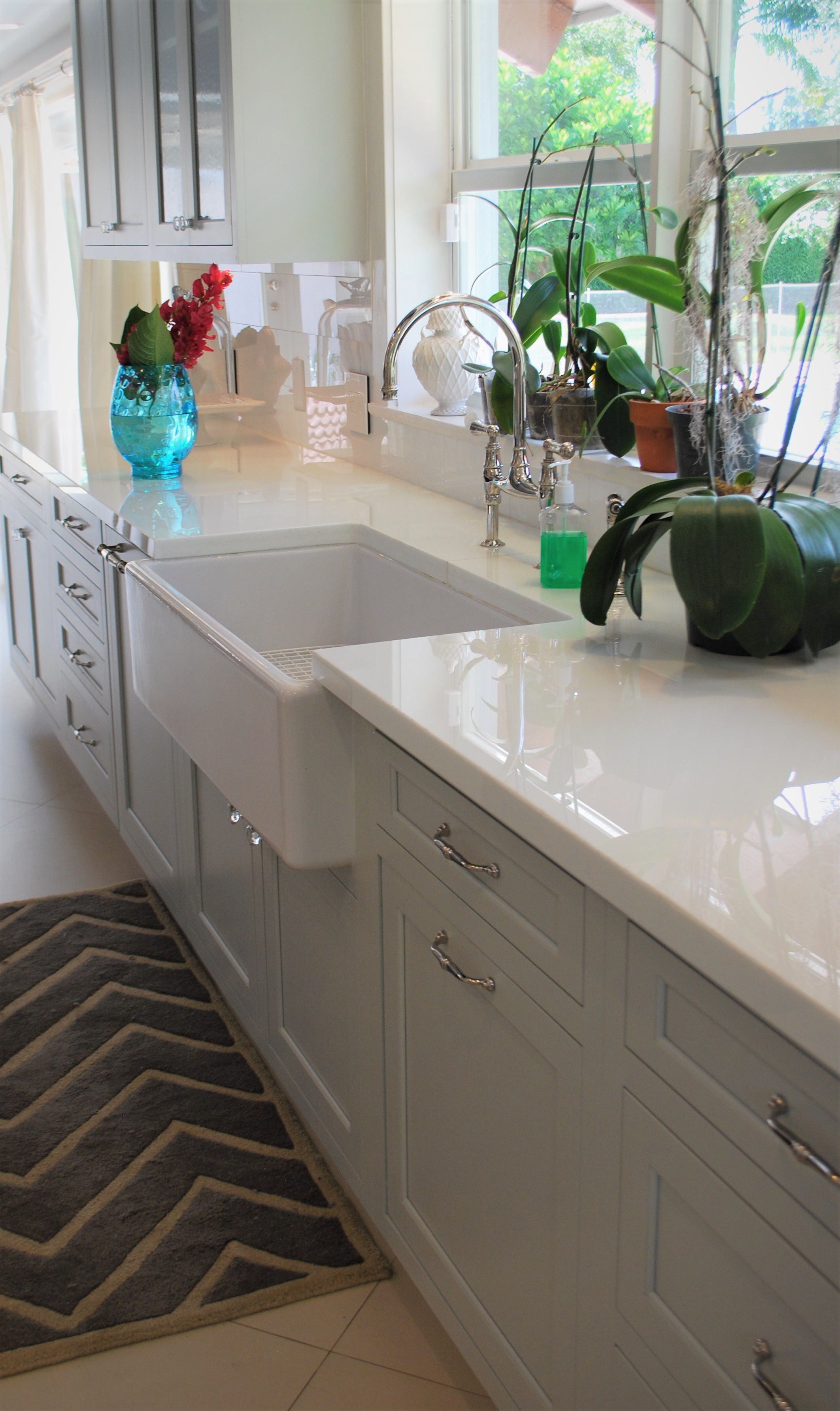 This Ranch Style Sink And Greenery Combined With Our Custom Inset Cabinetry Emits Comfort Contemporary Kitchen Modern Kitchen Dream Kitchen