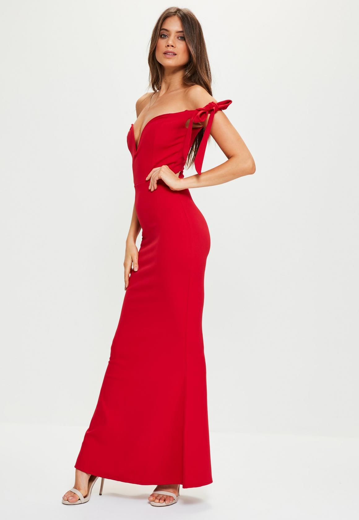 Missguided - Red Sweetheart Neck Bardot Tie Maxi Dress ...