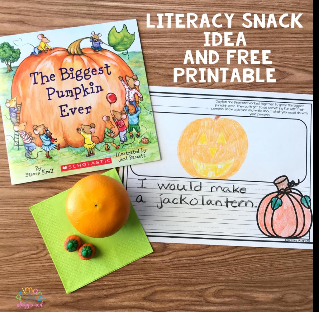 Literacy Snack Idea Pumpkin Free Printable