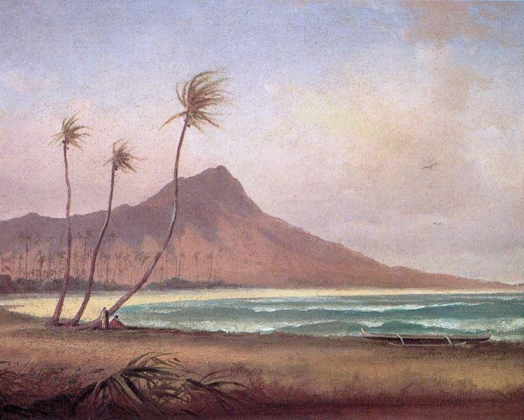 WAIKIKI BEACH HONOLULU OAHU ISLAND HAWAII 1800'S PAINTING ART REAL CANVAS PRINT