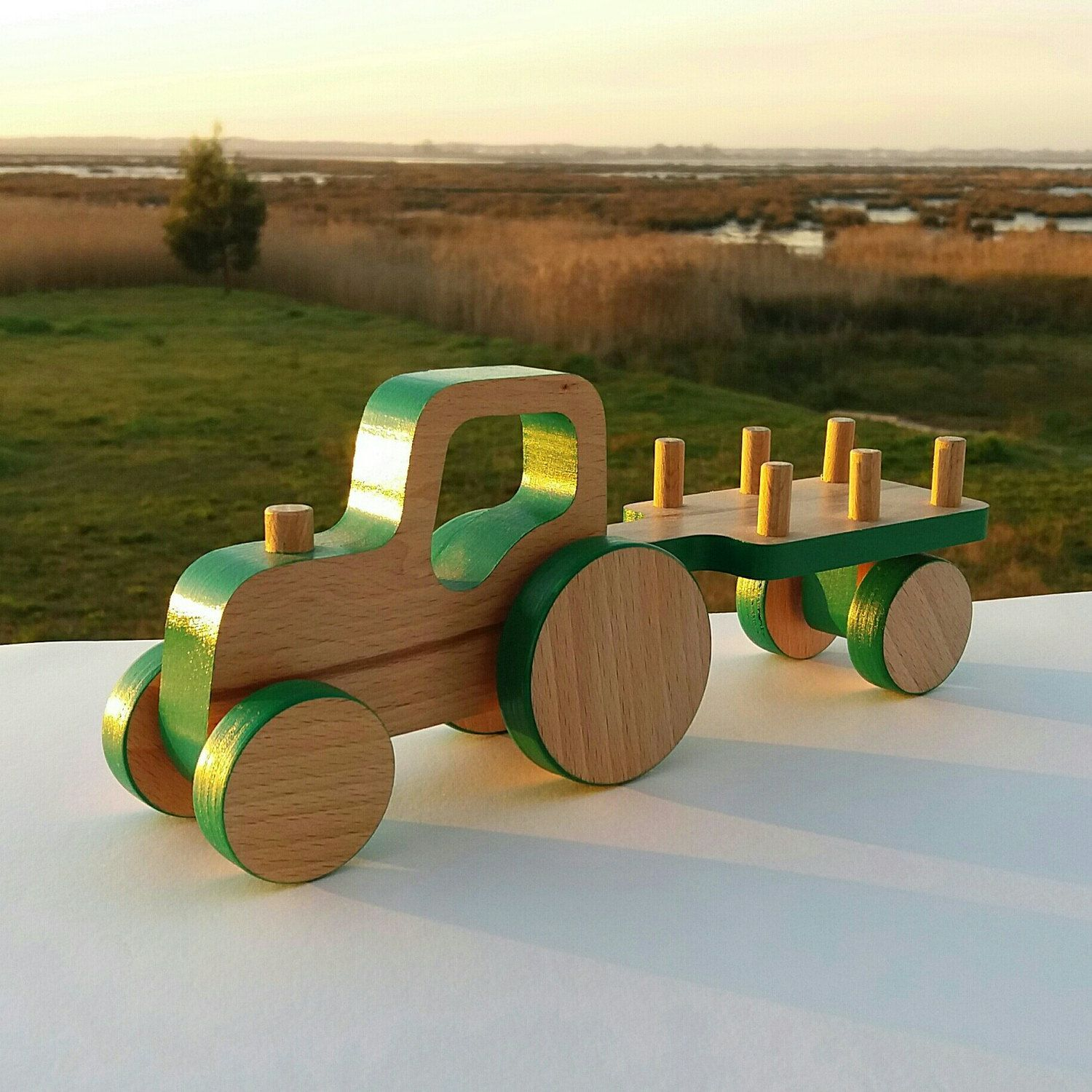 Wooden Push Toy Car  Tractor Birthday  Wooden Tractor with Trailer Toy  Toddler Gift Boy  Pull toy for Toddlers