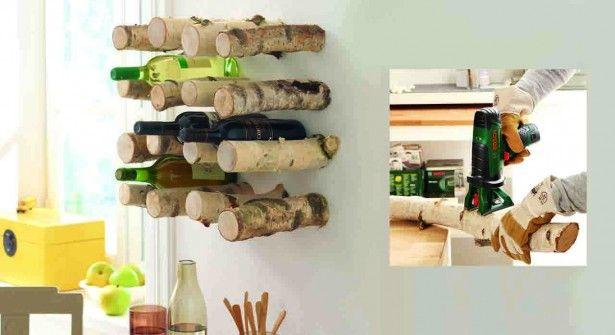d co en bois un porte bouteille avec des buches fait main diy home et hanger. Black Bedroom Furniture Sets. Home Design Ideas