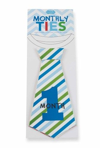 Milestone Stickers for Baby Boy Shaped Like Ties. Photo Prop. Made by Mud Pie. Each month, simply stick the sticker listing your baby's age (1 month, 2 months, etc.) to the front of your little boy's outfit, snap a photo, and remove the sticker.  It couldn't be easier! #baby #babyboy