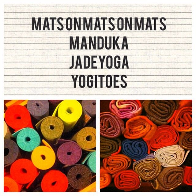 New mats and towels just in! Selling life time guarantee Manduka and JadeYoga yoga mats and Yogitoe towels for no slippin'-n-slidin' in your hot classes! rayoga.com #rayogamats