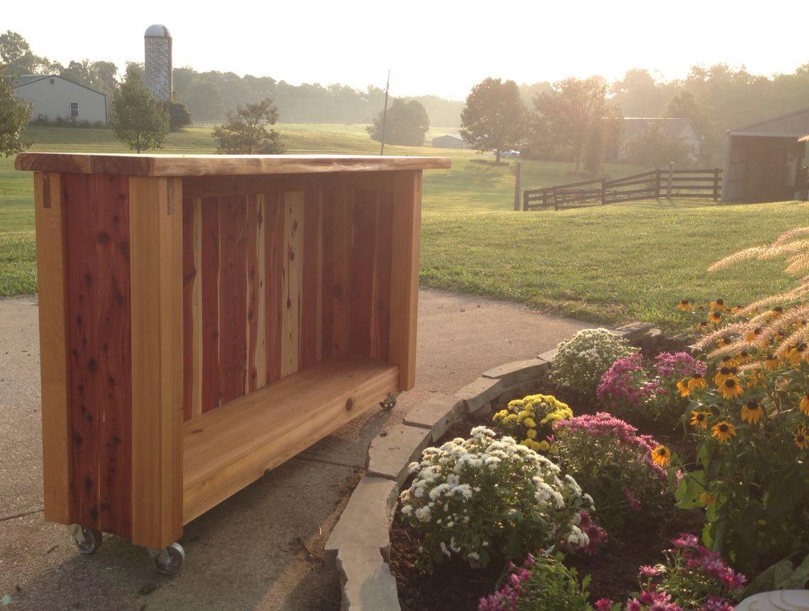 Portable Outdoor Cedar Bar With Live Edge Cedar Top And Steel Casters Portable Outdoor Bar Outdoor Wooden Bar Diy Outdoor Bar