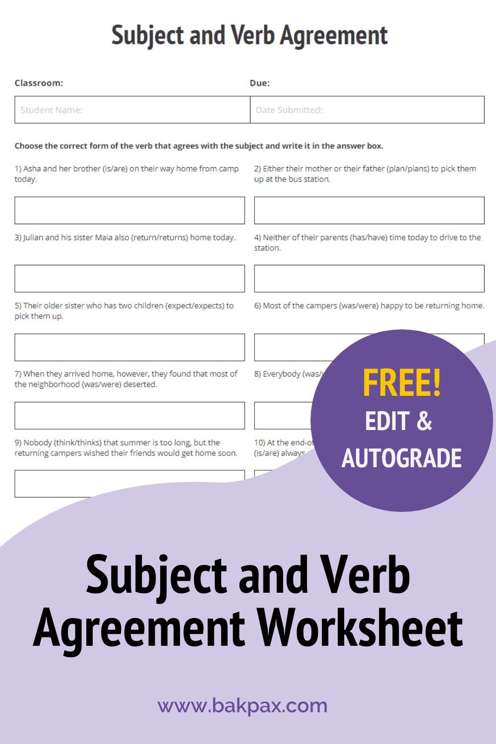 Free Subject And Verb Agreement English Worksheet Subject And Verb Free English Worksheets Language Arts Worksheets [ 1500 x 1000 Pixel ]