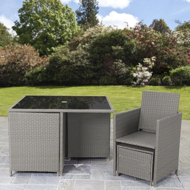 8 Seater Rattan Cube Outdoor Dining Set With Parasol Grey Weave