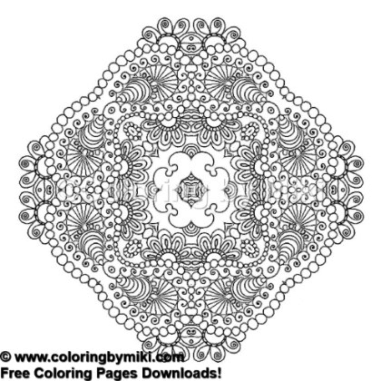 Kaleidoscope Mandala Coloring Page 496 freeprintable coloring coloringforadults