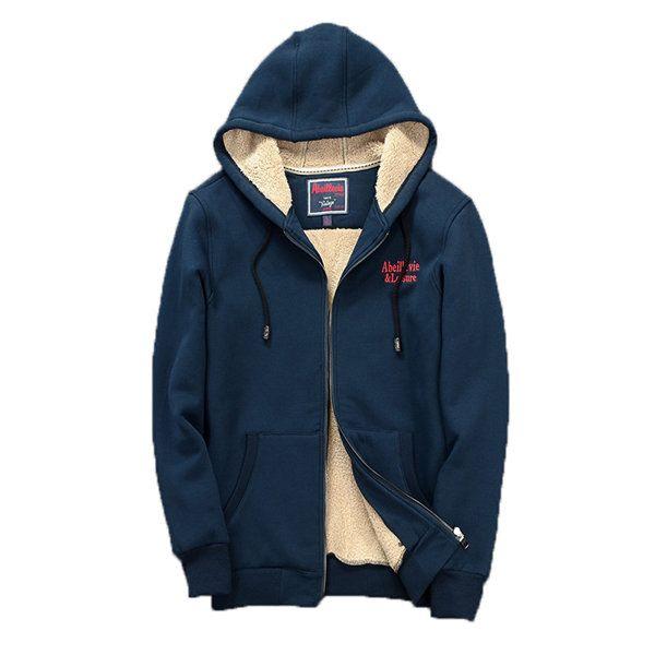 Men Heavyweight Fleece Lined Full Zip-Up Hoodie Sweater Warm Sweatshirt US FAMD