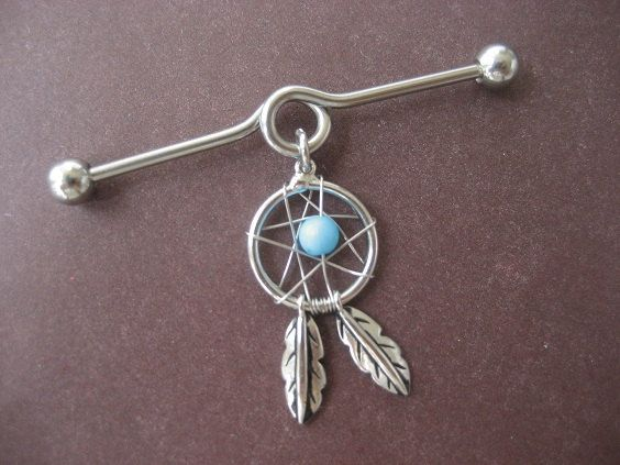 Industrial Piercing Dream Catcher industrial bar Piercings Pinterest Industrial piercing 12
