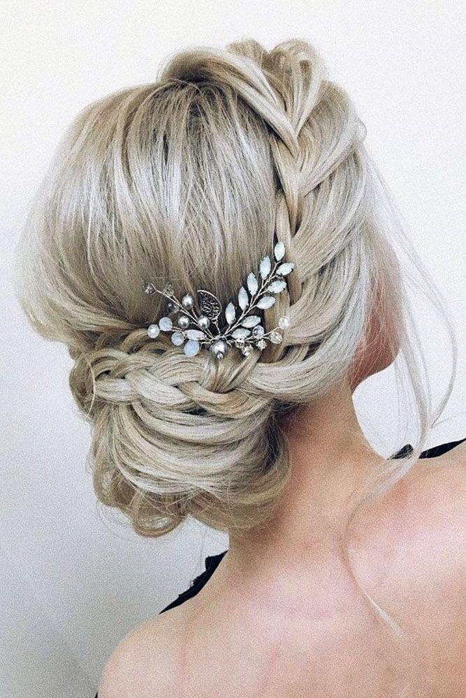 Pinterest Wedding Hairstyles Low Bun With Side French Braid Xenia Stylist Via Instagram Hair Styles Updos For Medium Length Hair Long Hair Styles
