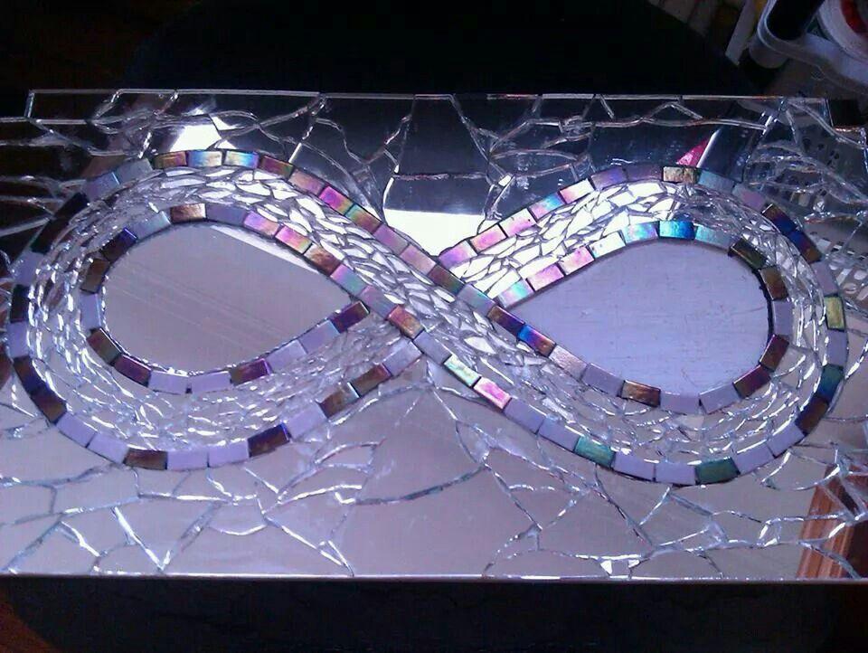 Large Infinity Symbol Hand Made Mirror Mosaic Mosaic Mirror Art