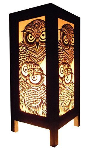 Thai Vintage Handmade Asian Oriental Handcraft Night Owl Bird Bedside Table Lights or Floor Wood Paper Lamp Home Decor Bedroom Decoration Modern Design from Thailand, http://www.amazon.com/dp/B00DIFFYFU/ref=cm_sw_r_pi_awdm_8e.mxb19BTGMY