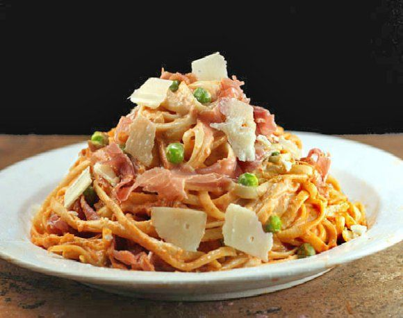 Tomato Parmesan Linguine with or without Peas and Prosciutto