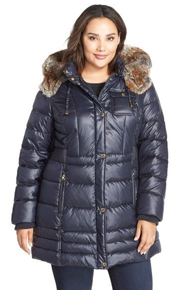 Laundry By Design Faux Fur Trim Hooded Quilted Coat Plus Size