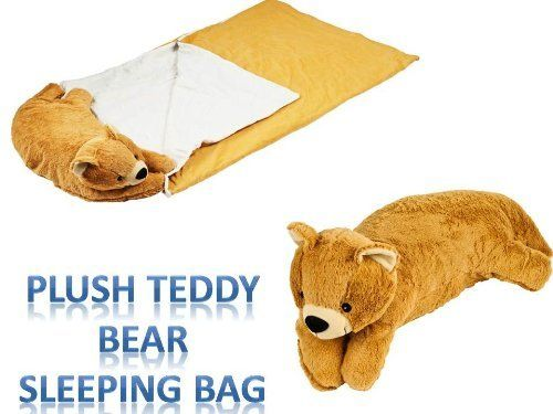 Teddy Bear Sleeping Bed N Bag Snuggle Stuffed Plush Pillow Cuddlee Pet by ZH. $79.99. Plush Stuffed Animal:100% Polyester,Storage Compartment with Velcro Closure for Sleeping Bag,Dimensions: 10 x 22.5 x 9 inches.. Super soft Teddy Bear Sleeping Stuff in Sleeping Bag.. Sleeping Bag:100% Polyester,Zippered,Machine Washable,Dimensions: 43 x 28.5 x 1.5 inches.. Every kid wants a toy that they can snuggle and of course they love to sleep with their toy.  How about a...