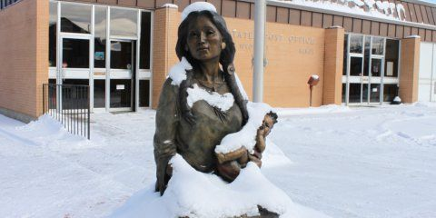 Sheridan's downtown sculptures are, once again, blanketed with snow. (Photo by Leslie Stratmoen)