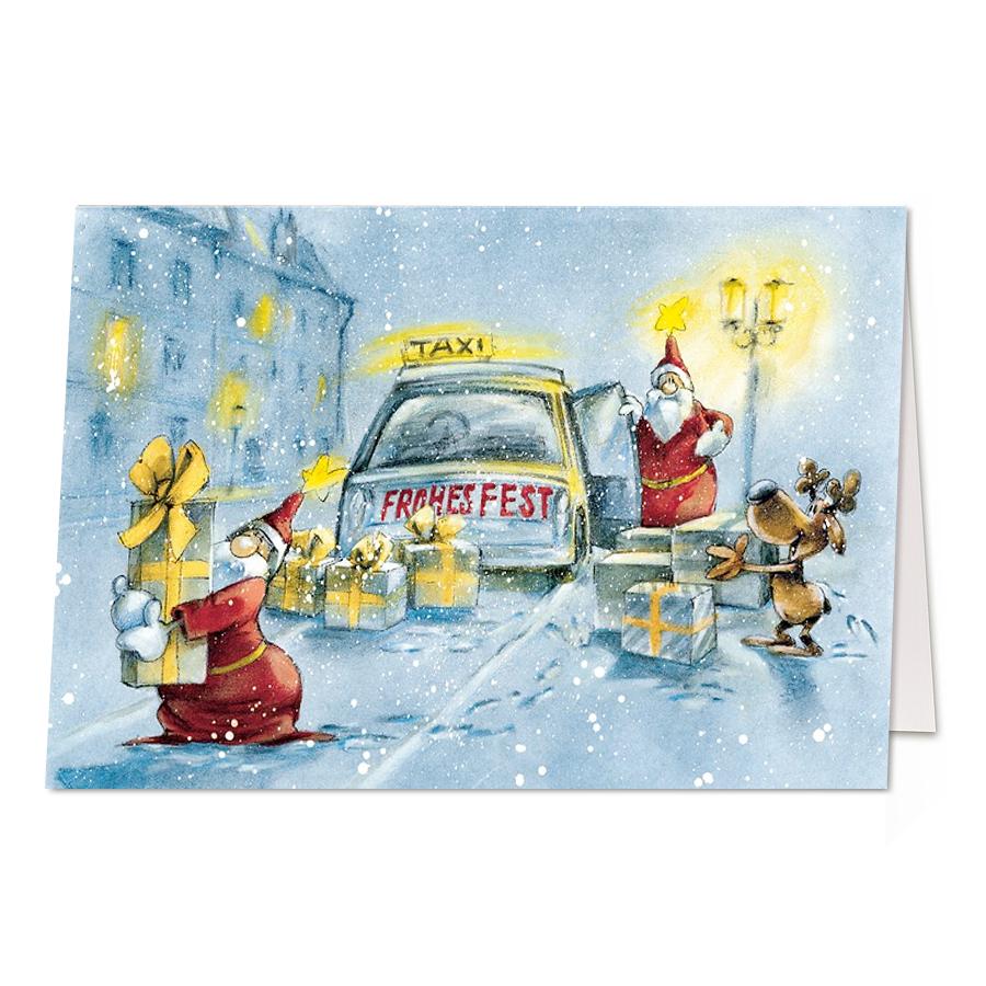 Weihnachtskarten Comic.Lustige Weihnachtskarten Taxi Weihnachten Comic Christmas
