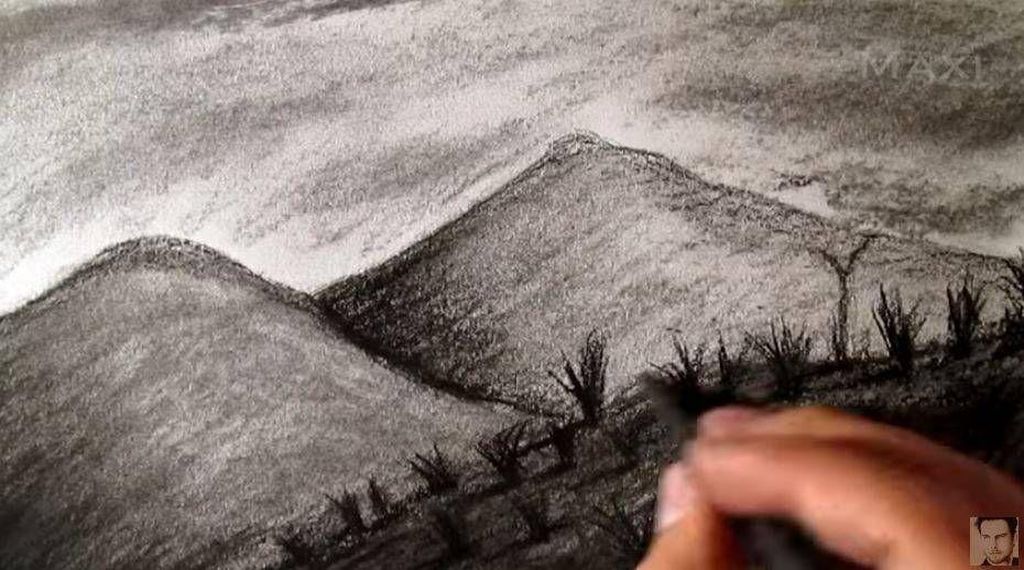 Paso 5 Para Aprender A Dibujar Paisajes A Carboncillo Carboncillo Paisaje Paisaje A Lapiz Montañas Dibujo