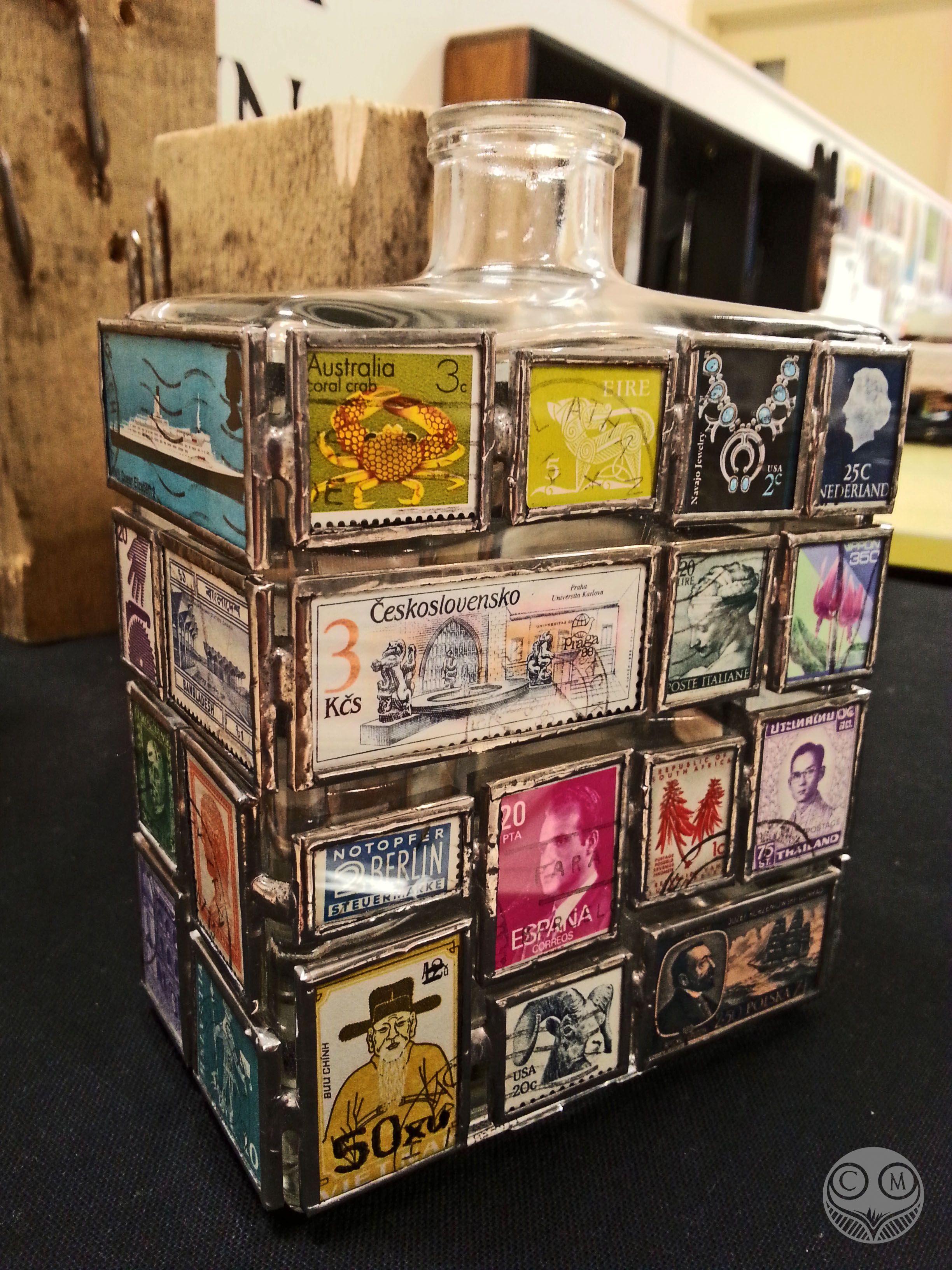 Carly Mann Stamp Bottle (large) 16 x 11 x 6.5cm Vintage worldwide stamps, Microscope Slides & Copper Foil  www.facebook.com/carlymannart www.carlymann.co.uk