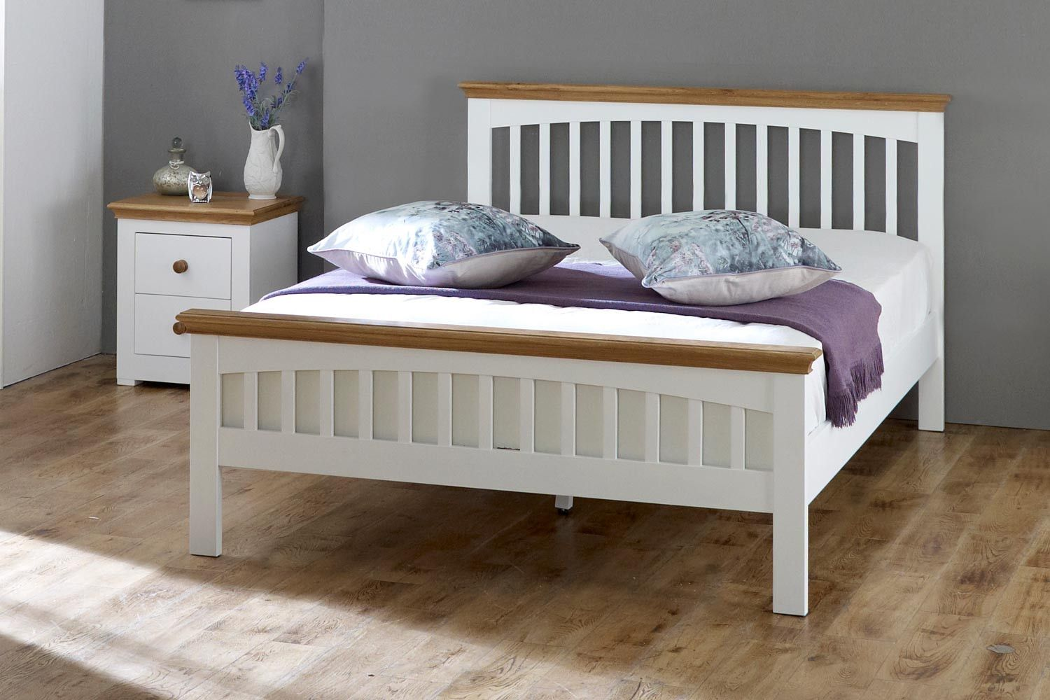 499 00 Hampshire White Solid Wood Bed Frame 6ft Super King The