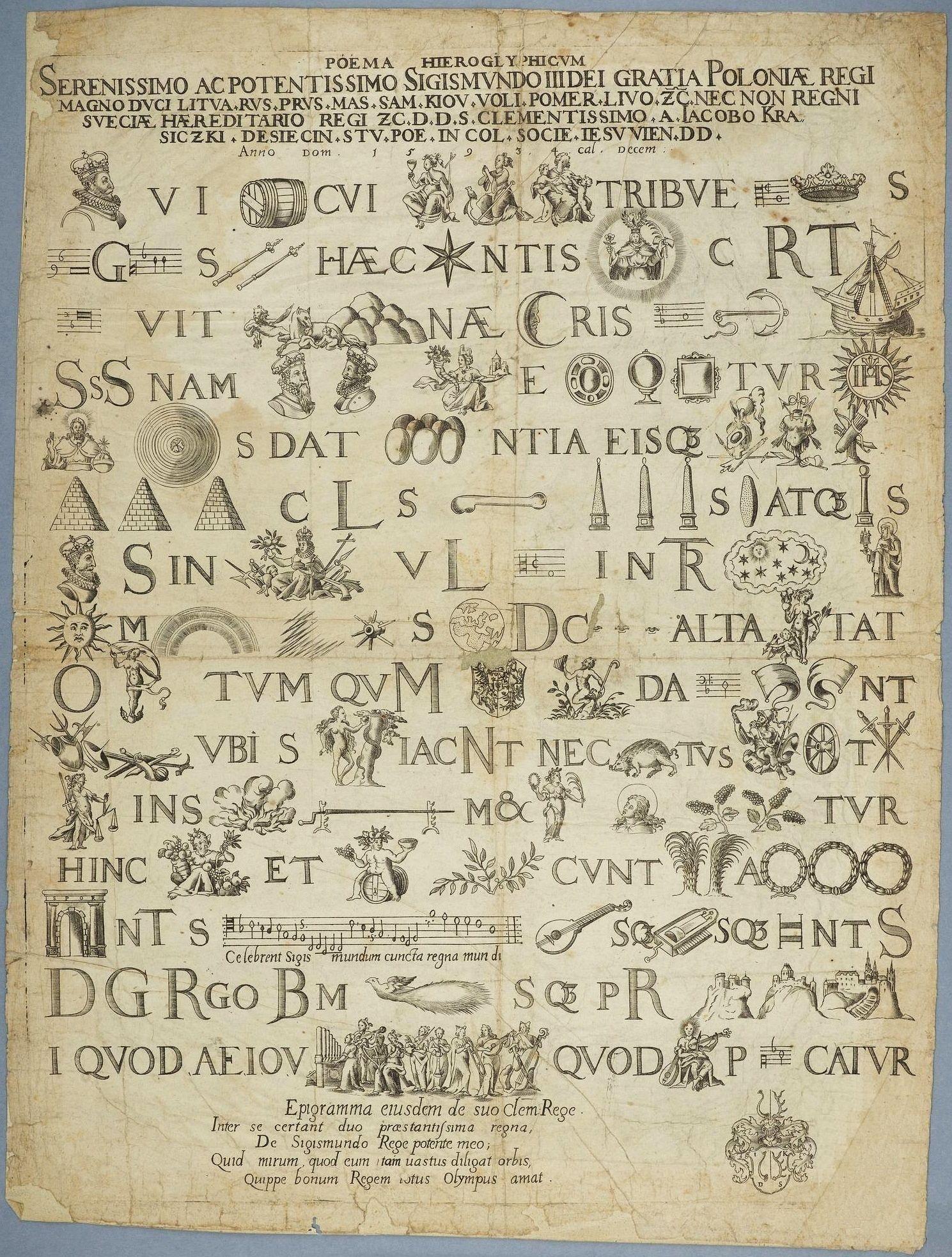 Rebus For Sigismund Iii Vasa By Jakub Krasicki 1593 P W