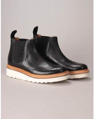 Grenson Black Alice Brogue Chelsea Boots
