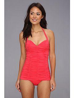 d92f80cf00afd DKNY Brigitte Solids Shirred Swimdress One-Piece | Summer Lovin ...