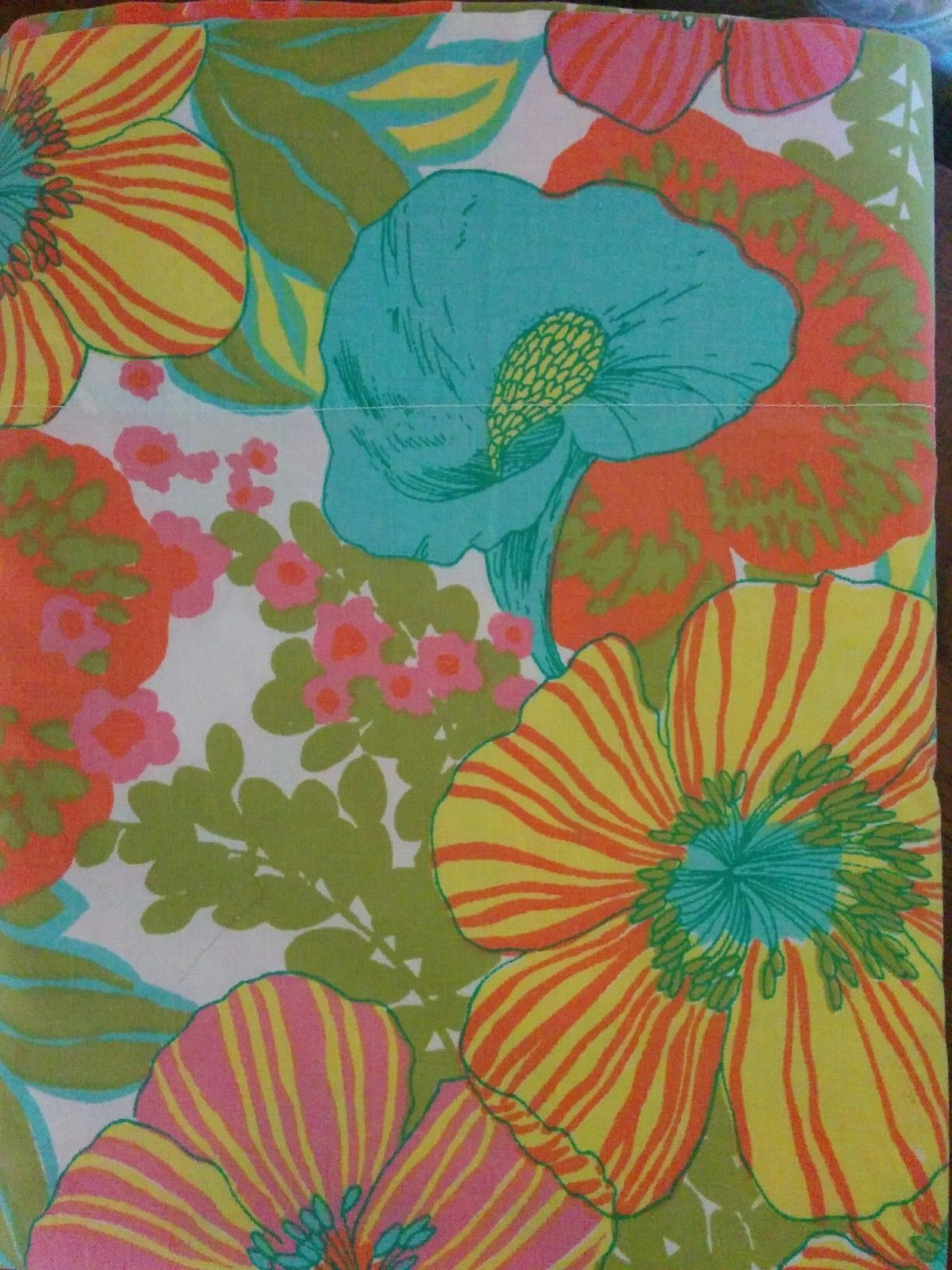 vintage springmaid wondercale twin flat sheet mod flower power retro fast ship ebay