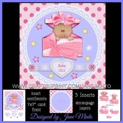 NEW BABY GIRL MINI KIT With Decoupage, Matching Inserts, Sentiment Hearts