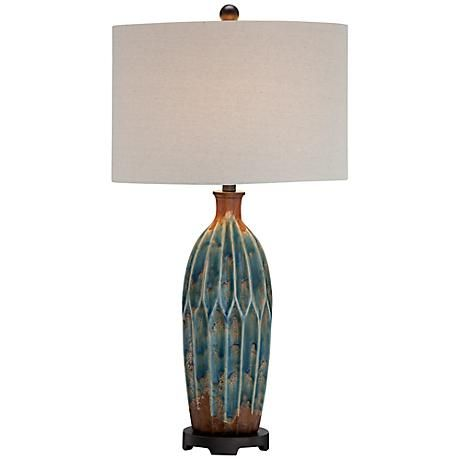 The Bright Azul Blue Color In The Base And Body Of This Ceramic Table Lamp  Is