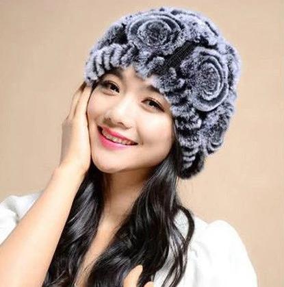 YCFUR Winter Hats Caps For Women Knit Real Rex Rabbit Fur Flowers Beanies Hats Female Soft Warm Winter Hat Cap Ladies – Women's fashion
