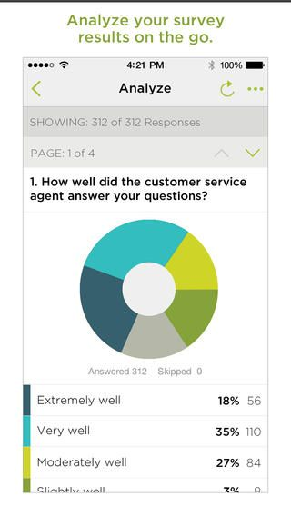 The native iOS app of Survey Monkey is easy to navigate