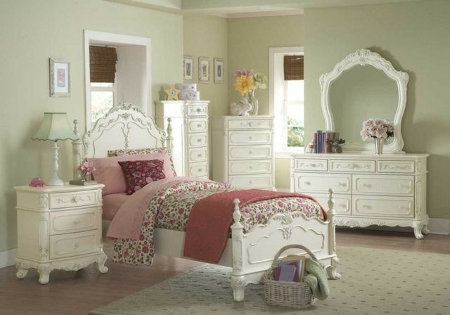 schlafzimmer shabby chic m bel wei schminktisch bett beistelltisch shabby home pinterest. Black Bedroom Furniture Sets. Home Design Ideas