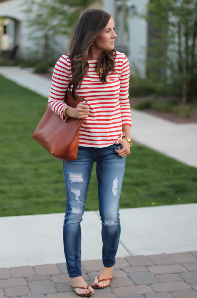 Red Striped Boatneck Tee, Distressed Skinny Jeans, Cognac Leather ...
