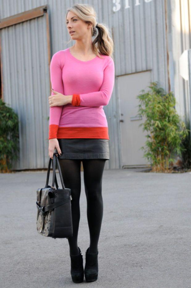 Enza Costa Sweater, Zara Skirt, Hue Tights, Reed Krakoff Bag ...