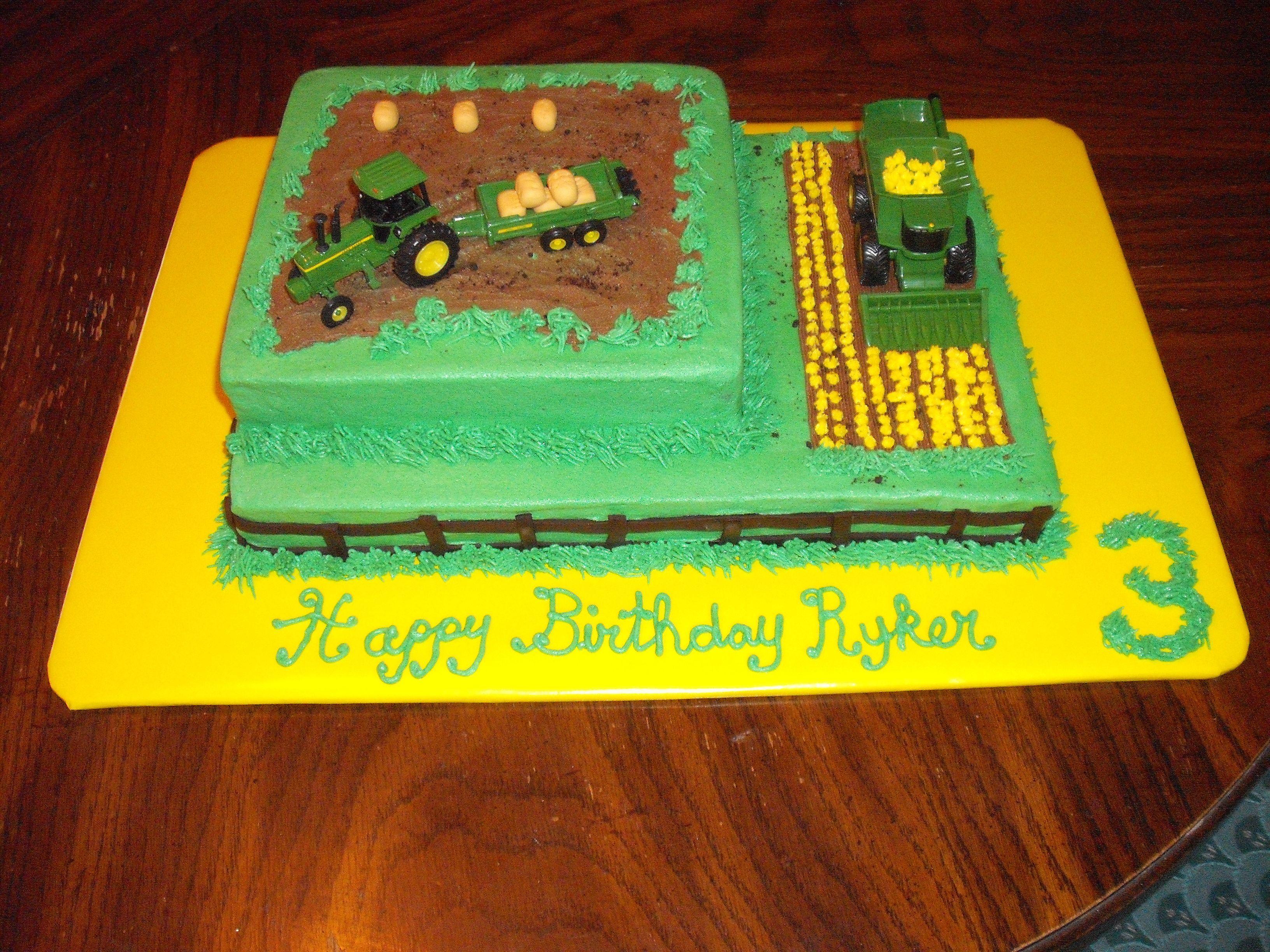 John Deere Theme Birthday Cake Complete With Tractor