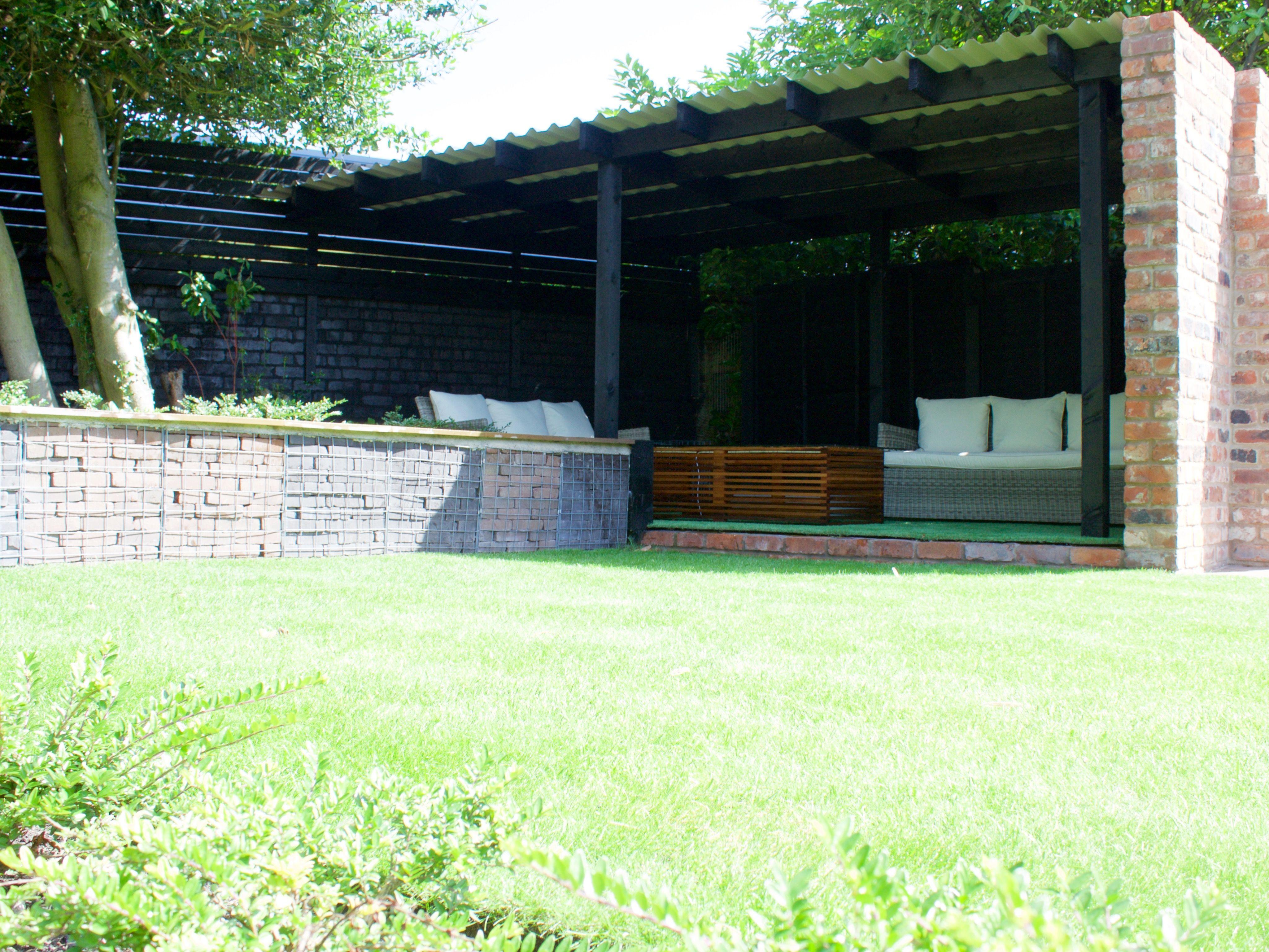 Cheshire Brick Sandstone Paving Gabion Cages Outdoor Seating Ferns Bamboo Lawn Outdoor Courtyard Gardens Design Modern Garden Design Back Garden Design