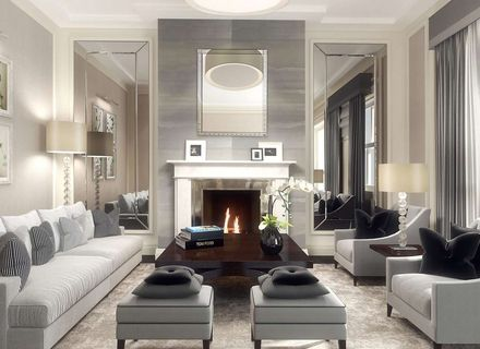 Symmetry Mirrors Beside Fireplace, Large Mirrors For Fireplaces