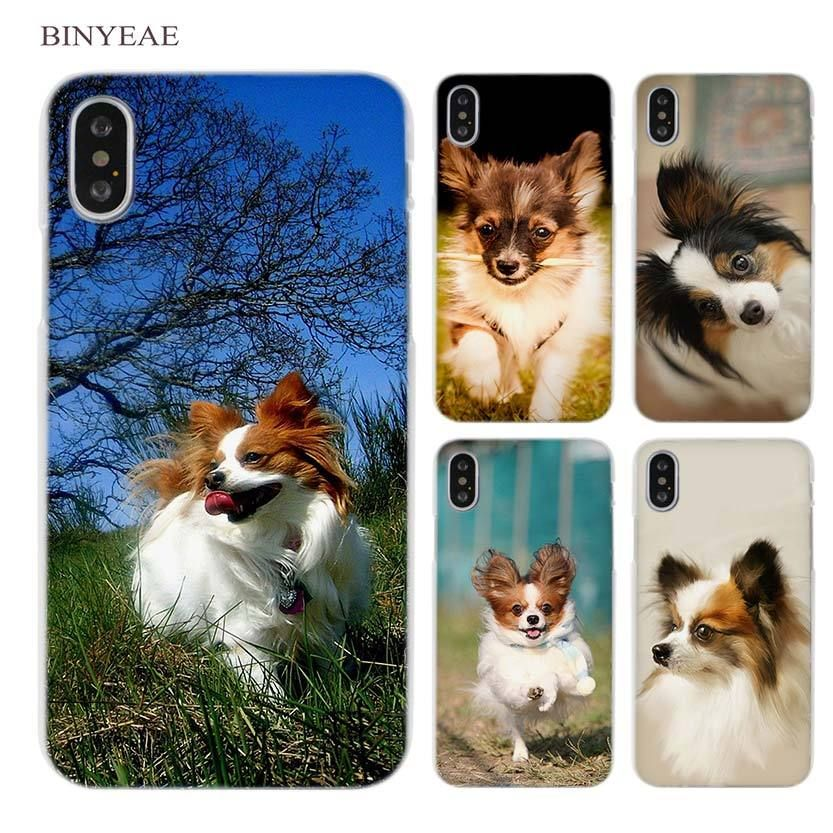fa806b385 BINYEAE Papillon Puppy dog art Clear Cell Phone Case Cover for Apple iPhone  X 6 6s 7 8 Plus 4 4s 5 5s SE 5c