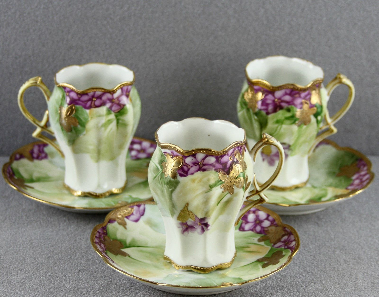 3 antique hot chocolate cups saucers hand painted nippon gold 3 antique hot chocolate cups saucers hand painted nippon gold violets fancy ebay reviewsmspy