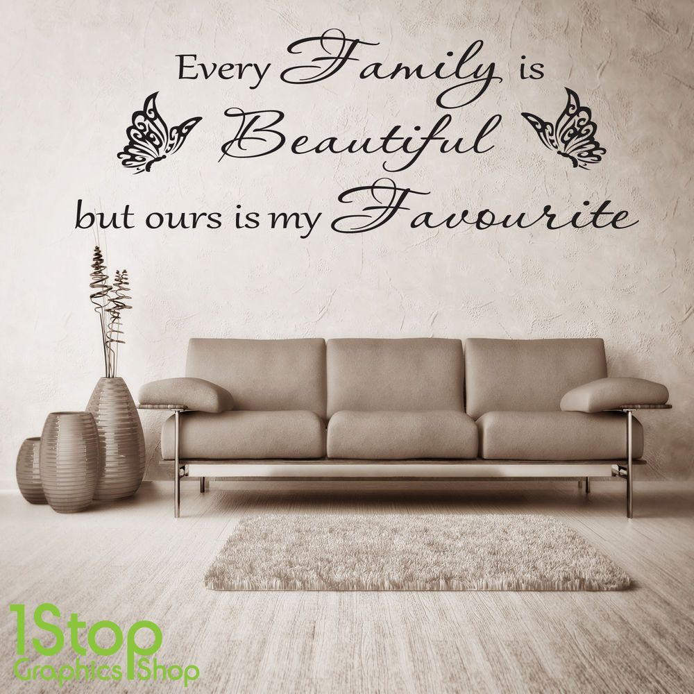 Family beautiful wall sticker quote bedroom lounge wall art decal