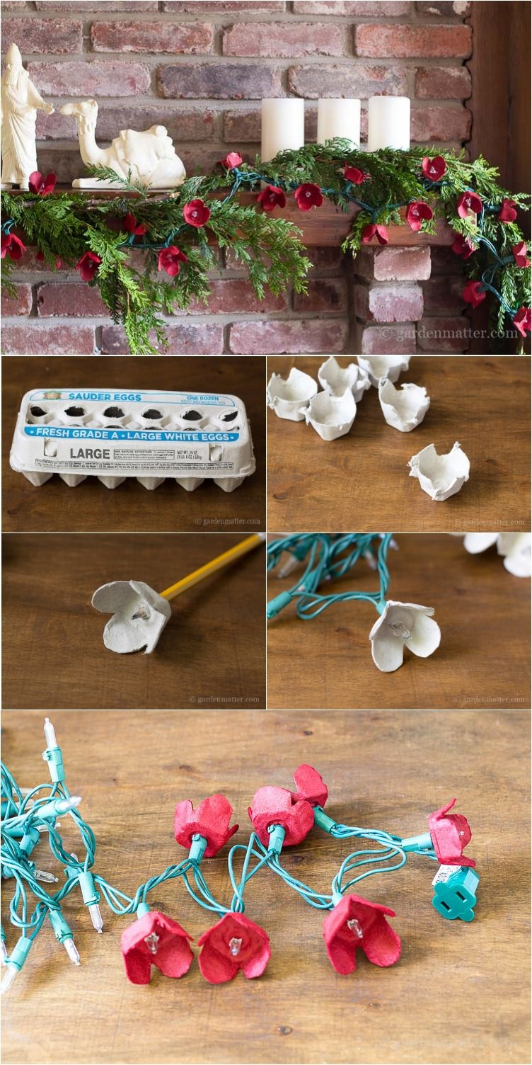 13 Surprisingly Pretty Decorations with Egg Cartons #recycledcrafts