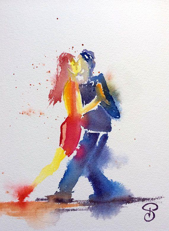 Impression Tango Danse Peinture Aquarelle Danseurs Art