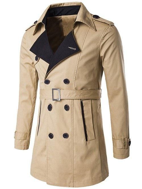 Men/'s double-breasted trench coat jacket lapel belt Windbreaker Outwear Jacket