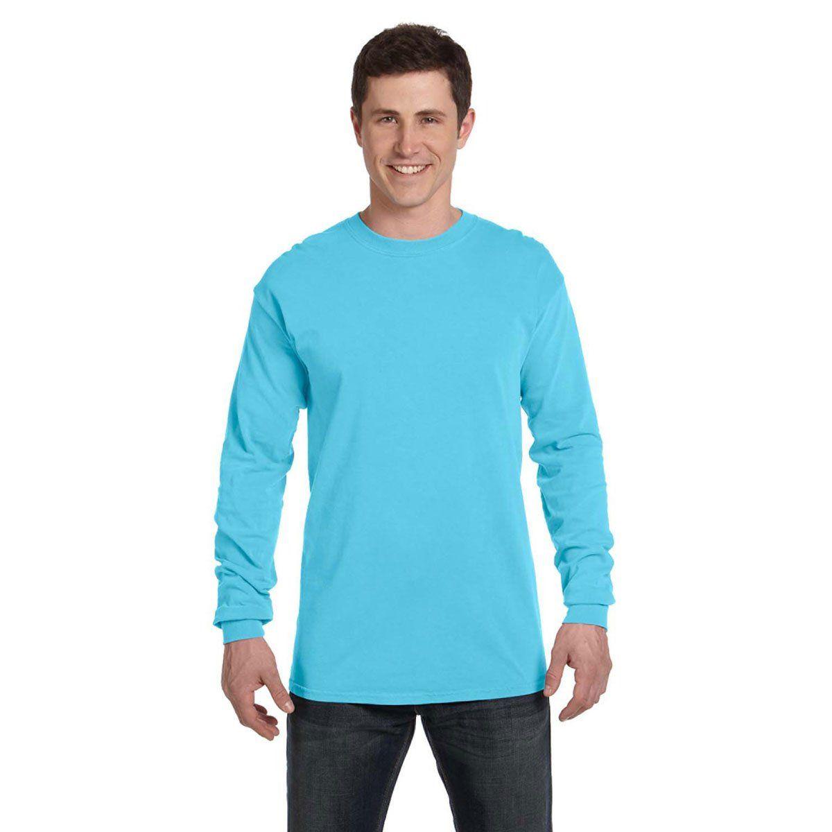 Comfort Colors Men S Lagoon Blue 6 1 Oz Long Sleeve T Shirt Dye