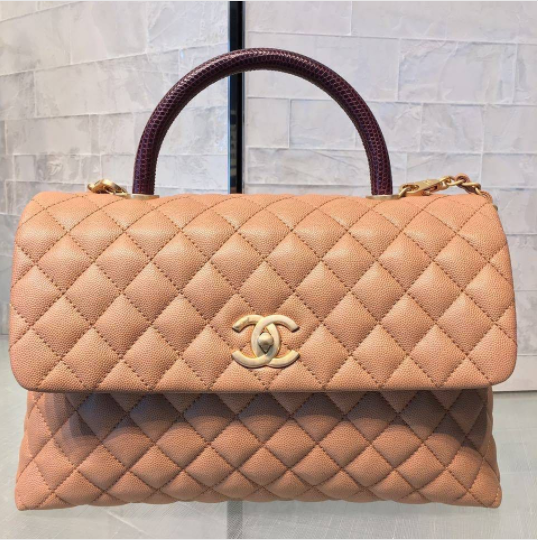 70f993343a2a Chanel Beige Calfskin/Lizard Medium Coco Handle Bag | Bags in 2019 ...