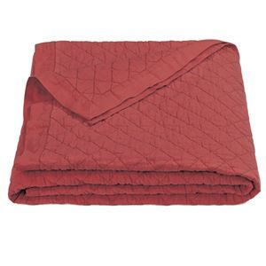 Delectably-Yours.com Brick Red Diamond Pattern Linen Quilt by HiEnd Accents
