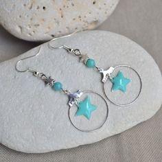 Boucles d'oreilles avec étoile en sequin turquoise